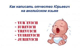 Как правильно написать отчество Юрьевич на английском языке