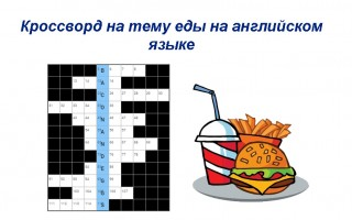 Кроссворд на тему еды на английском для начального уровня