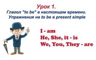 Урок 1. Глагол «to be» в настоящем времени. Упражнения на to be в Present Simple.