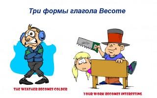 Три формы глагола Become, его значения, синонимы, примеры предложений