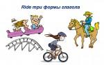 Ride три формы глагола — значения, синонимы, примеры предложений