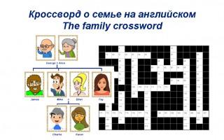 The family crossword — Кроссворд о семье на английском языке