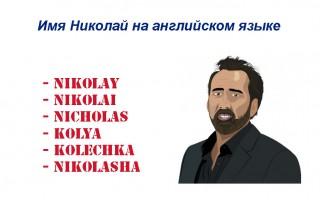 Николай на английском - как пишется и произносится