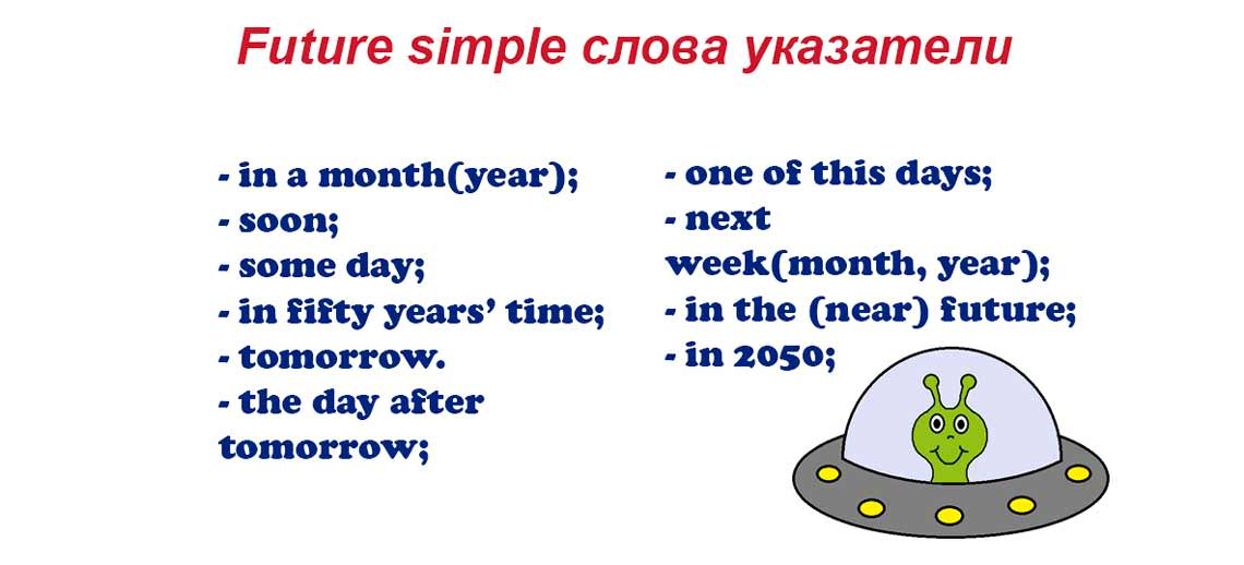 Future simple слова указатели