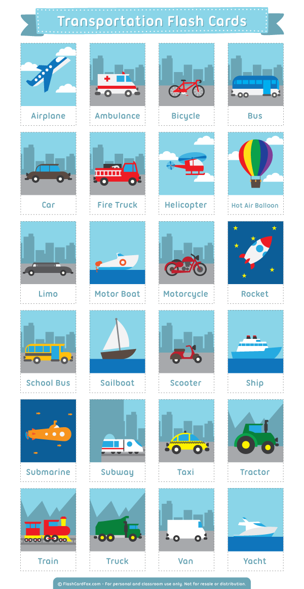 Карточки на тему транспорт