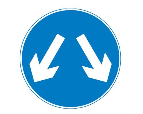 """Дорожный знак """"Проезд в обе стороны"""" в Англии - Pass either side"""
