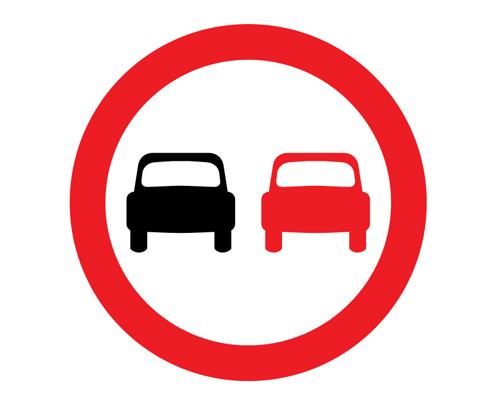 """Дорожный знак """"Обгон запрещен"""" в Англии - No overtaking"""
