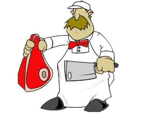 Мясо продает мясник в мясной лавке -butcher's