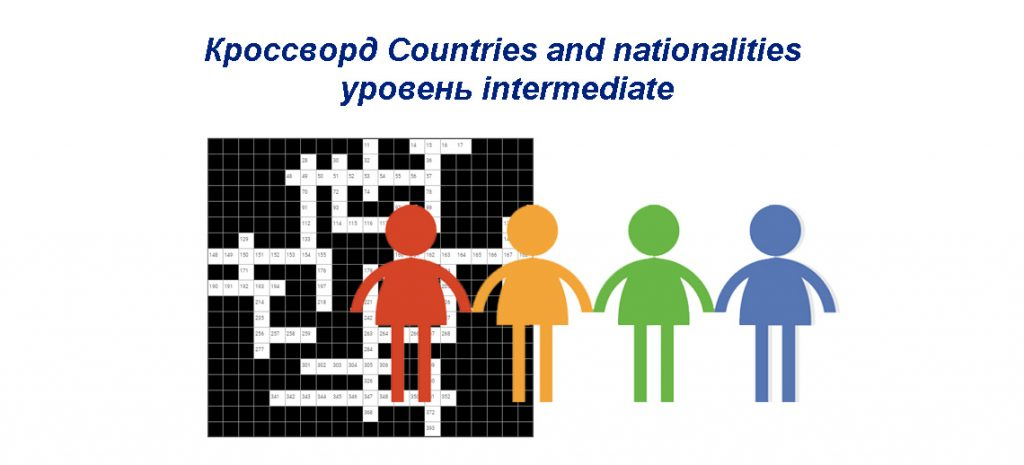 Кроссворд Countries and nationalities - уровень intermediate