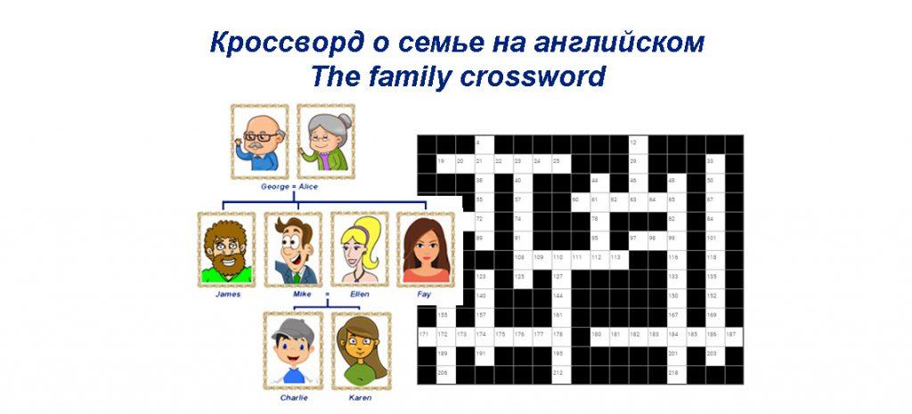 Кроссворд о семье на английском - The family crossword
